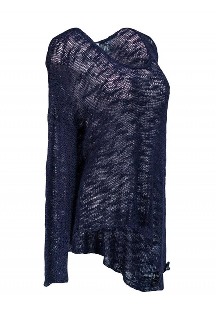 Helmut Lang Navy Blue Knitted Sweater Image 1