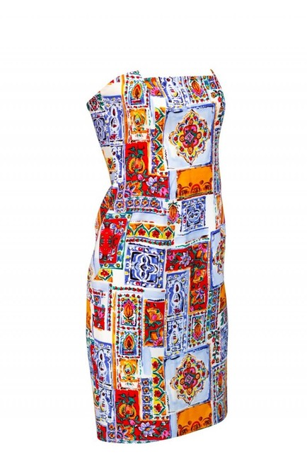 David Meister Multicolored Strapless Dress Image 1