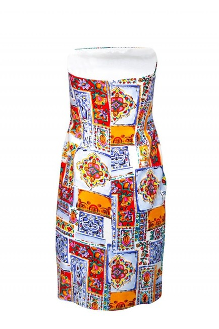 David Meister Multicolored Strapless Dress Image 2