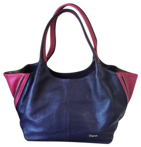 Diana Janes Italian Leather 2-tone Shoulder Tote in Purple & Hot Pink