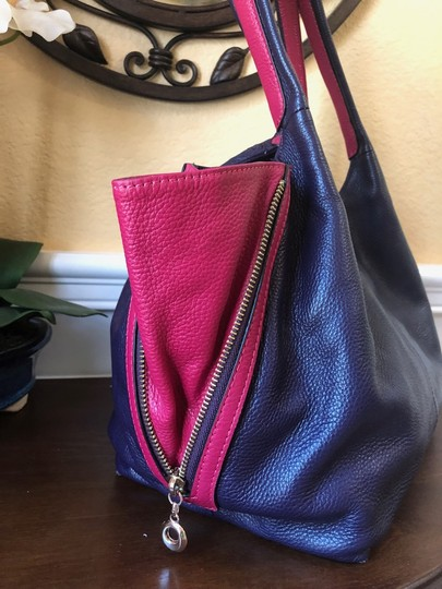 Diana Janes Italian Leather 2-tone Shoulder Tote in Purple & Hot Pink Image 1