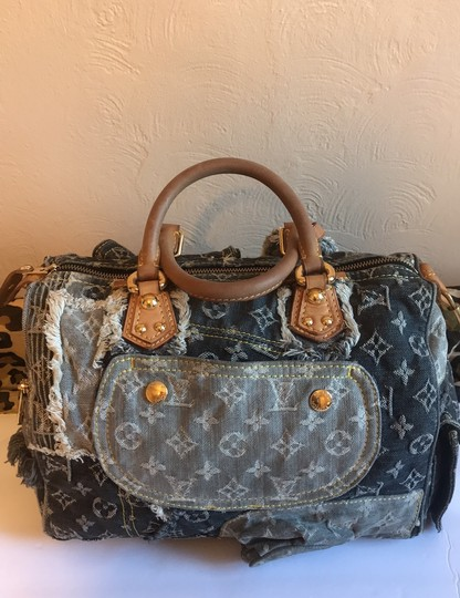 Louis Vuitton Satchel in Blue Monogram Rare Limited Edition Image 11