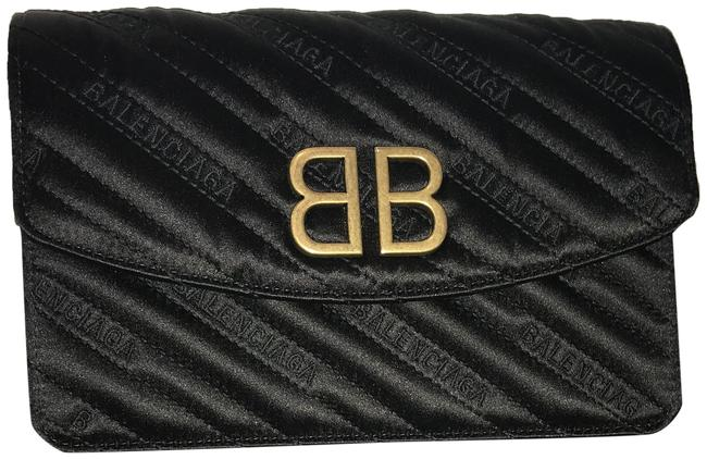 Item - Wallet on Chain Printed Bb Black Satin Cross Body Bag