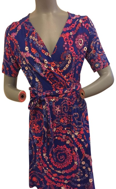 Item - Blue Floral In Berry/Orange Wrap Mid-length Short Casual Dress Size 6 (S)