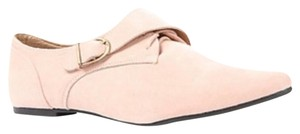Jacobies Monk Strap Suede Lace Up Oxford Pink Blush Flats