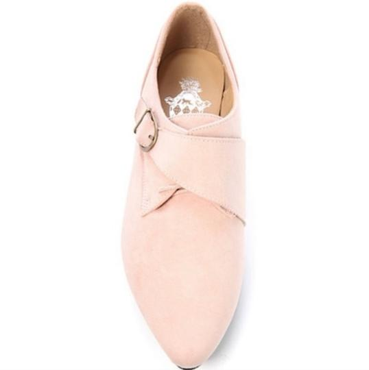 Jacobies Monk Strap Suede Lace Up Oxford Pink Blush Flats Image 1