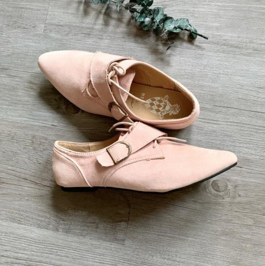 Jacobies Monk Strap Suede Lace Up Oxford Pink Blush Flats Image 2
