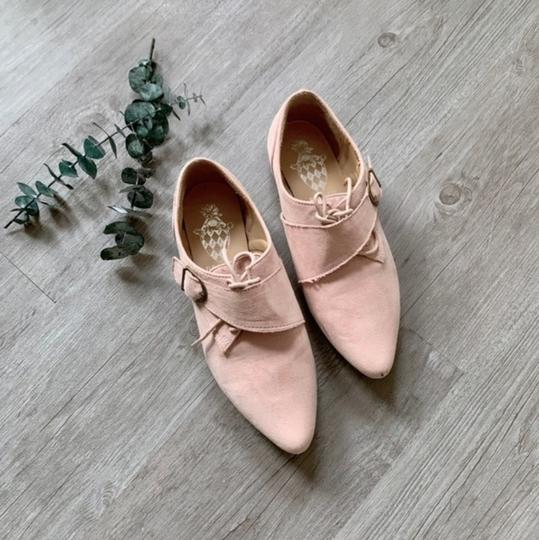Jacobies Monk Strap Suede Lace Up Oxford Pink Blush Flats Image 3