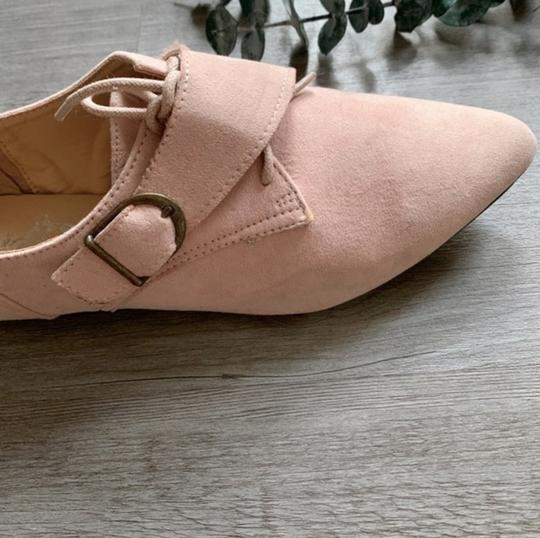 Jacobies Monk Strap Suede Lace Up Oxford Pink Blush Flats Image 4