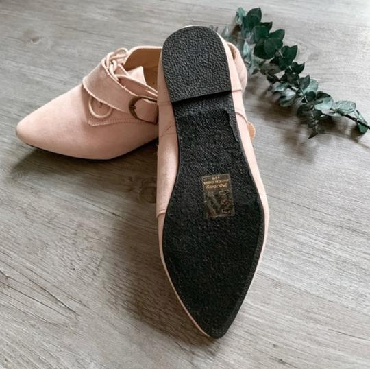 Jacobies Monk Strap Suede Lace Up Oxford Pink Blush Flats Image 5