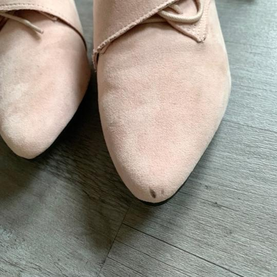 Jacobies Monk Strap Suede Lace Up Oxford Pink Blush Flats Image 6