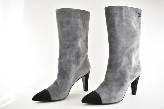 Chanel Gabrielle Stiletto Ankle Midcalf Grey Boots Image 6