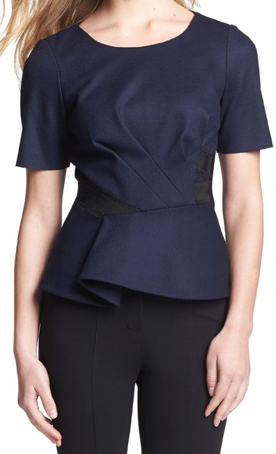 Preload https://img-static.tradesy.com/item/25618688/elie-tahari-navy-sapphire-colby-tailored-seamed-peplum-lined-blouse-size-12-l-0-4-650-650.jpg