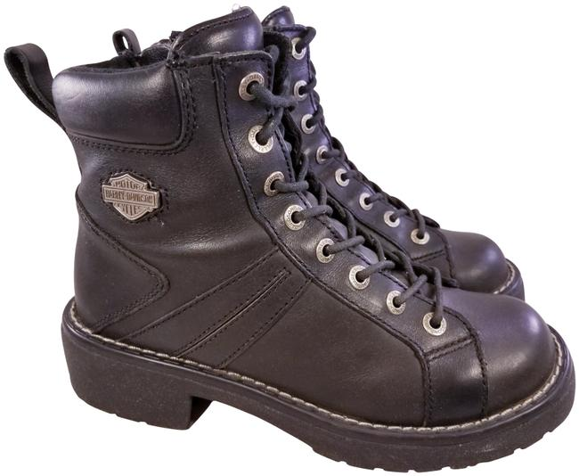 Item - Black Woman Motorcycle Riding Laces Leather Boots/Booties Size US 8 Regular (M, B)