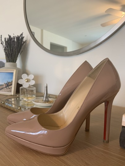 Christian Louboutin Patent Leather Classic Nude Pumps Image 1