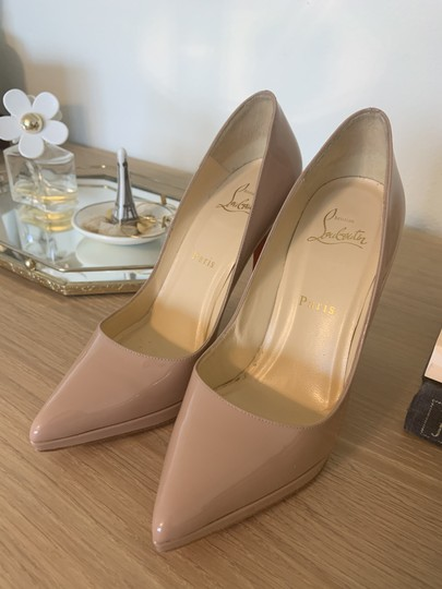 Christian Louboutin Patent Leather Classic Nude Pumps Image 4