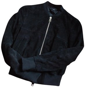 Theory Suede Bomber Lined Chic Leather Jacket