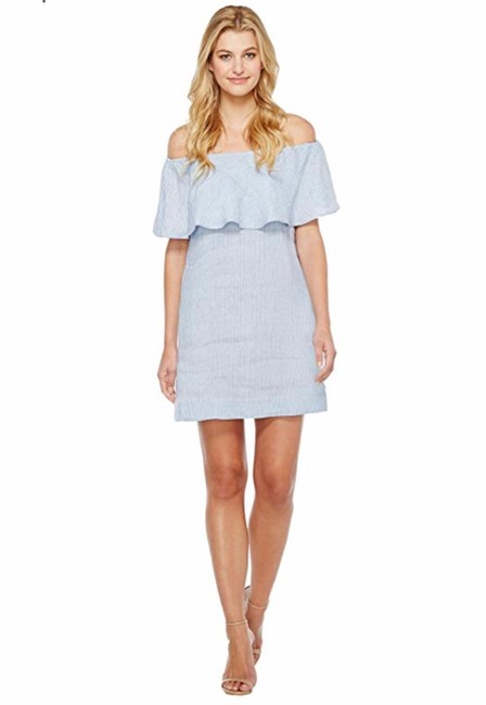 Preload https://img-static.tradesy.com/item/25618765/7-for-all-mankind-blue-off-the-shoulder-linen-short-casual-dress-size-2-xs-0-0-650-650.jpg