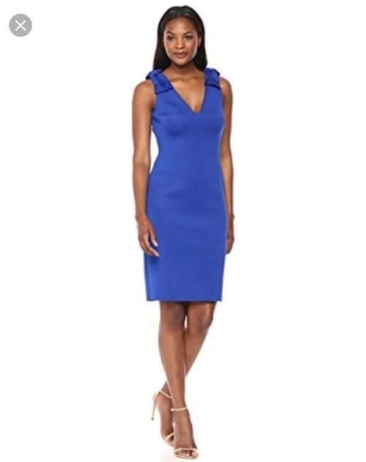Preload https://img-static.tradesy.com/item/25618816/eliza-j-blue-scuba-bow-shoulder-v-neck-sheath-mid-length-cocktail-dress-size-12-l-0-0-650-650.jpg