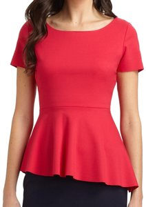 Elie Tahari Peplum Top Tulip Red