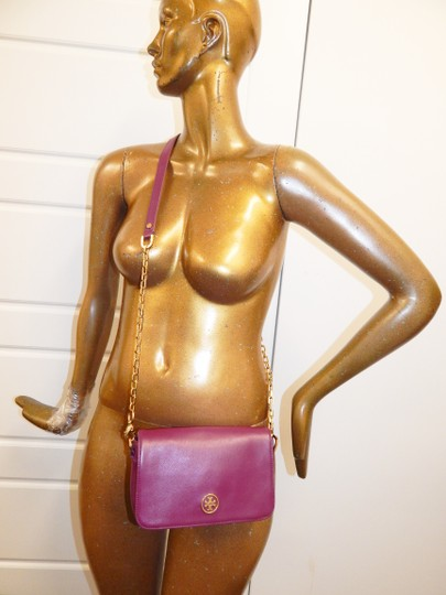 Tory Burch Gold Chain Saffiano Leather Cross Body Bag Image 11
