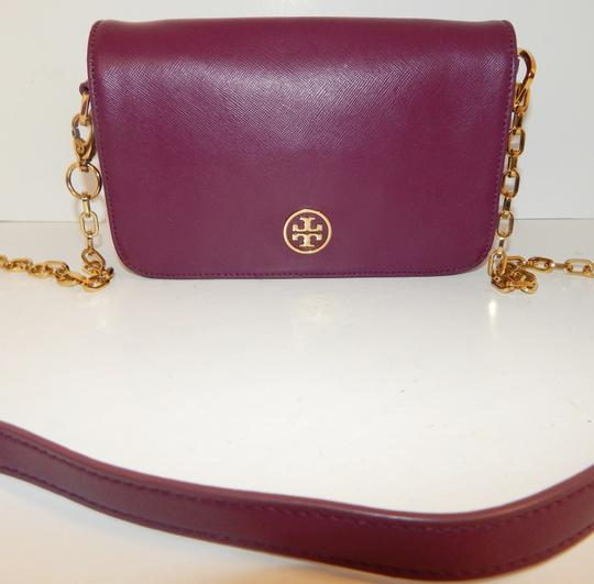 Tory Burch Gold Chain Saffiano Leather Cross Body Bag Image 3