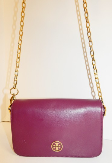 Tory Burch Gold Chain Saffiano Leather Cross Body Bag Image 8