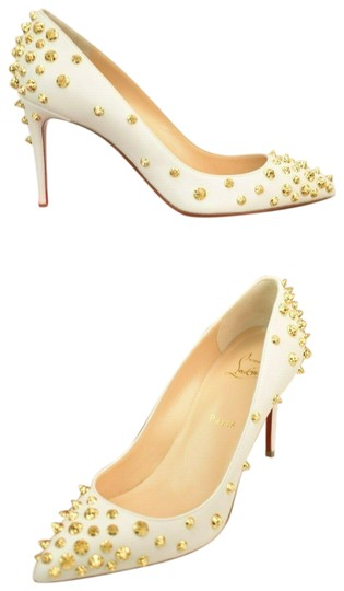 Preload https://img-static.tradesy.com/item/25618963/christian-louboutin-white-aimantaclou-85-snow-leather-gold-studs-classic-pumps-size-eu-38-approx-us-0-1-540-540.jpg