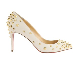 Christian Louboutin Leather Studded Gold Hardware White Pumps
