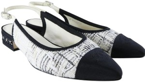 Chanel Slingback Ballet Tweed Tweed Grey Black White Flats