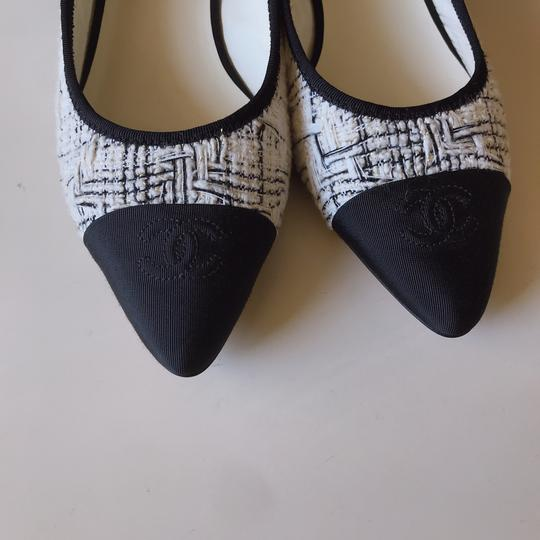 Chanel Slingback Ballet Tweed Tweed Grey Black White Flats Image 10