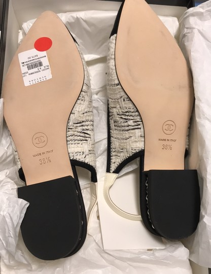 Chanel Slingback Ballet Tweed Tweed Grey Black White Flats Image 11