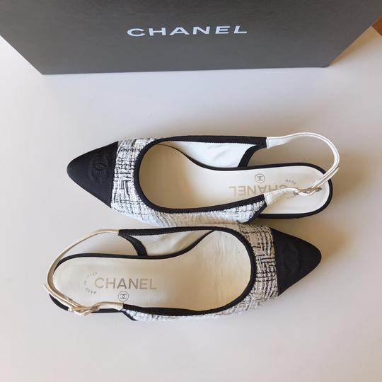 Chanel Slingback Ballet Tweed Tweed Grey Black White Flats Image 6