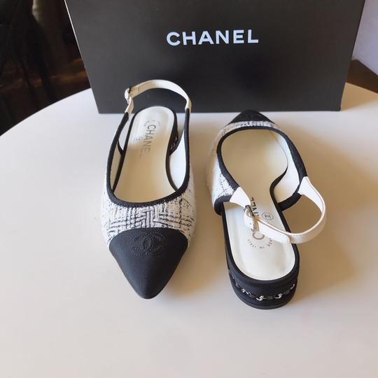 Chanel Slingback Ballet Tweed Tweed Grey Black White Flats Image 7