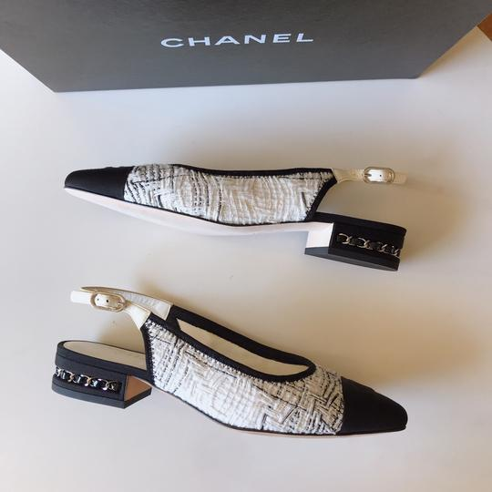 Chanel Slingback Ballet Tweed Tweed Grey Black White Flats Image 8
