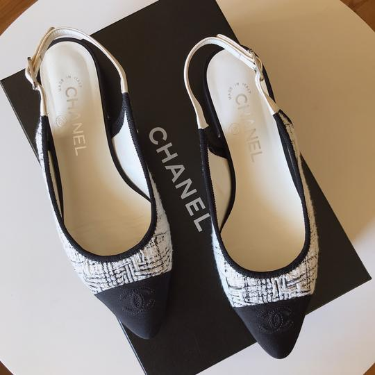 Chanel Slingback Ballet Tweed Tweed Grey Black White Flats Image 9