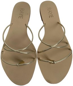RAYE Leather Crisscross Strap Strappy Gold Sandals