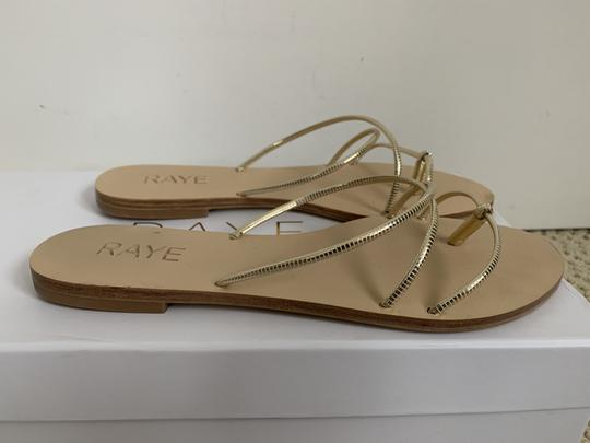RAYE Leather Crisscross Strap Strappy Gold Sandals Image 1