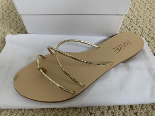 RAYE Leather Crisscross Strap Strappy Gold Sandals Image 10