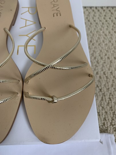RAYE Leather Crisscross Strap Strappy Gold Sandals Image 11
