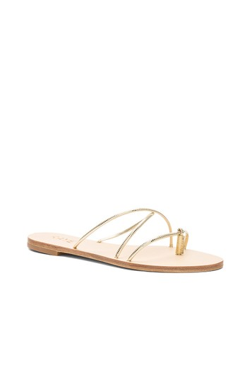 RAYE Leather Crisscross Strap Strappy Gold Sandals Image 3