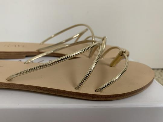 RAYE Leather Crisscross Strap Strappy Gold Sandals Image 5