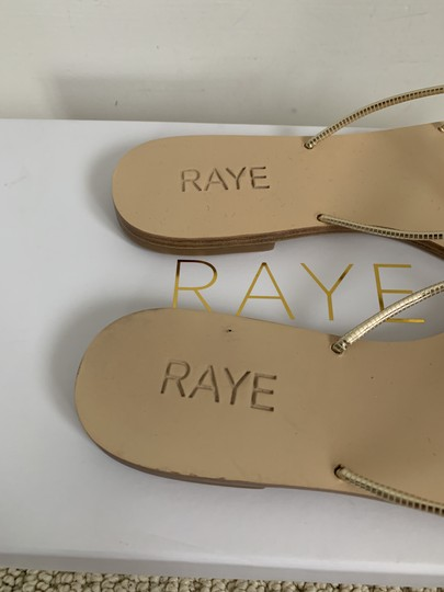 RAYE Leather Crisscross Strap Strappy Gold Sandals Image 6