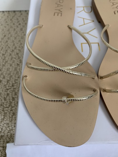 RAYE Leather Crisscross Strap Strappy Gold Sandals Image 8
