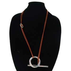 Hermès Sterling Silver Necklace Brown Rope Skipper Double Wrap
