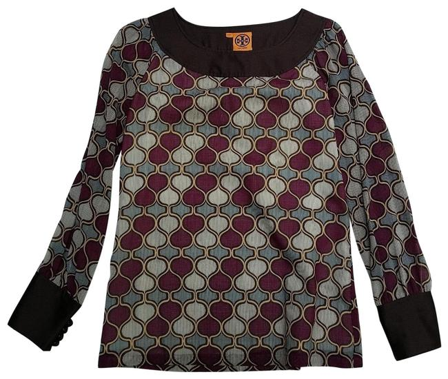 Item - Brown and Purple Print 23071122 Tunic Size 6 (S)