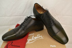 Christian Louboutin Green Greggo Flat Tyrol Leather Lace Up Oxfords 46 13 Italy Shoes