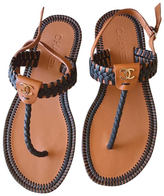 Item - Brown Black Braided Thong Cc Logo Mule Slide Flat Sandals Size EU 37 (Approx. US 7) Wide (C, D)