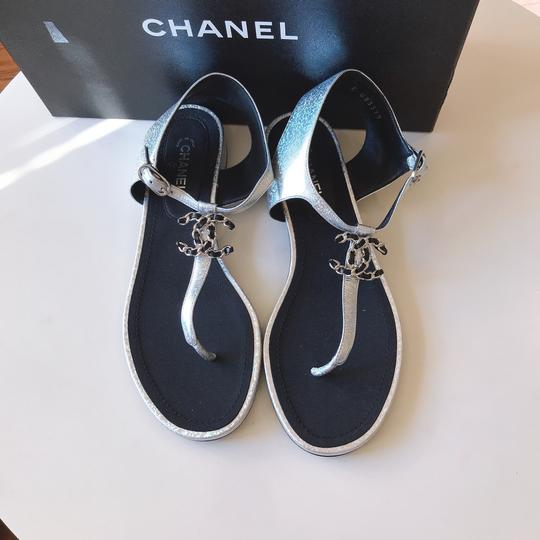 Chanel Thong Slide Mule Flat Silver Black Sandals Image 1
