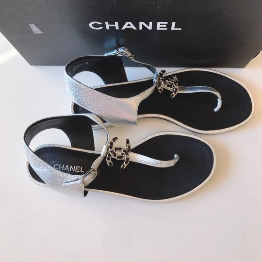 Chanel Thong Slide Mule Flat Silver Black Sandals Image 5